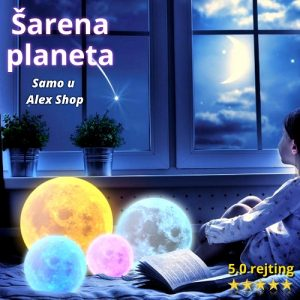 3D dečija lampa mesec koja radi na dodir